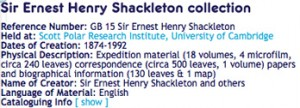 Archives Hub Record for Sir Ernest Shackleton